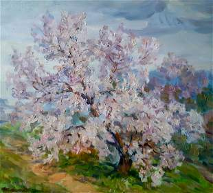 Oil painting A tree grows behind the village Kovalenko