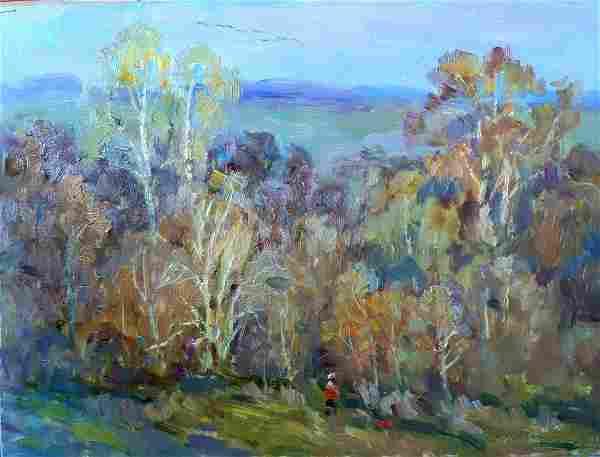 Oil painting Walk in the woods Kovalenko Ivan