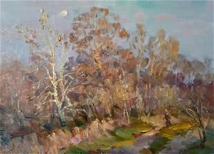 Oil painting Autumn in the forest Kovalenko Ivan