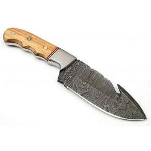 Skinner damascus steel knife full tang camel bone wood