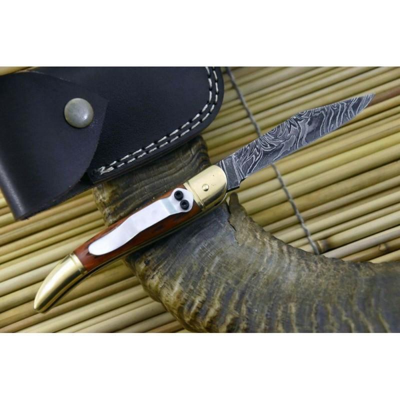 Hunting folding damascus steel knife camel bone pocket
