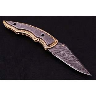 Hunting folding damascus steel knife camel brass pocket