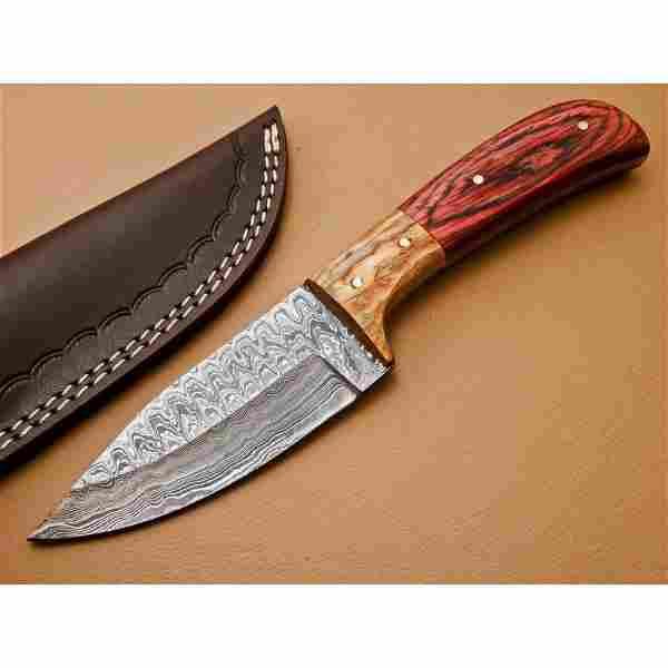 Hiking damascus steel knife handmade red walnut wood