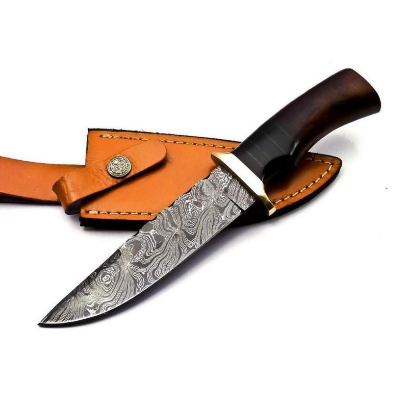 Damascus steel knife survival walnut wood brass leather
