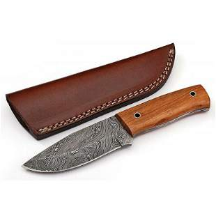 Hiking everyday carry hunting damascus steel knife wood