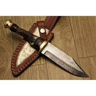 Skinner work damascus steel knife hunting stag antler