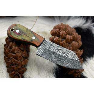 Full tang camping damascus steel knife skinner wood