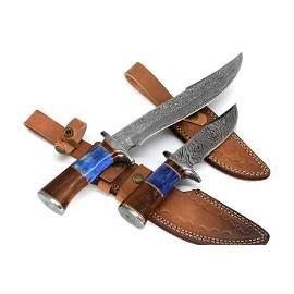 2 pcs SET handmade damascus steel knife survival wood
