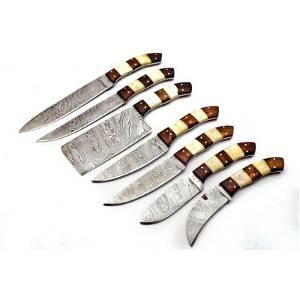 Set of 7 butcher kitchen damascus steel knives bone