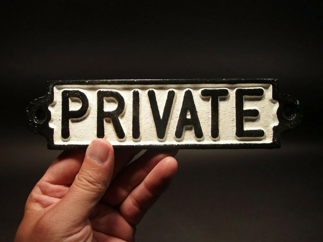 Cast Iron Retro Private Door Sign