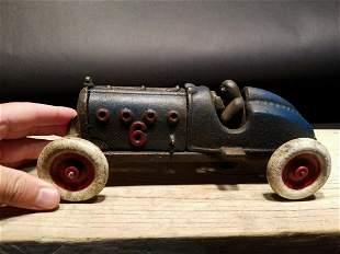 Blue Cast Iron #6 Toy Race Car w Lifting Hood