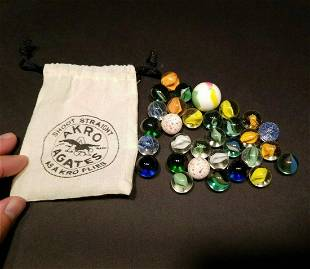 Akro Agates Marble Bag With Marbles