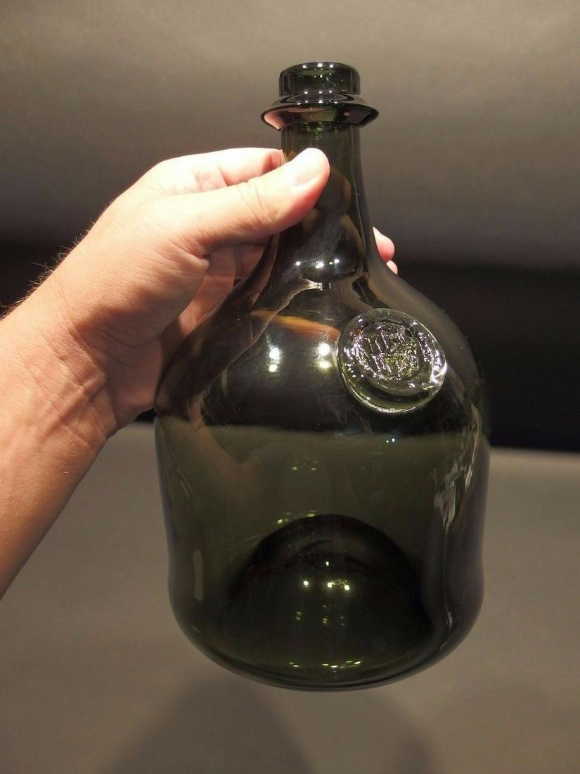 Black Glass Blown Mallet Onion Wine Bottle Green