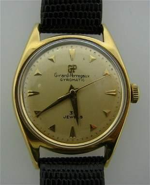 GIRARD PERREGAUX GYROMATIC 39 JEWELS WATCH LEATHER