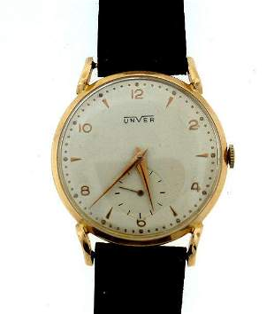 UNVER 18K ROSE GOLD WATCH LEATHER STRAP STAMPED