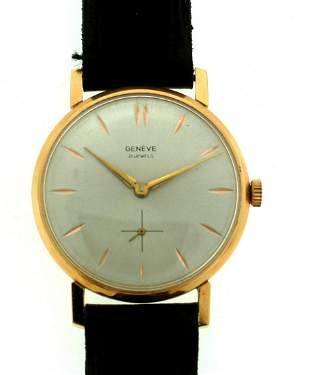 GENEVE 21 JEWELS 18K 750 GOLD STAMPED LEATHER STRAP