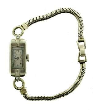LOVELY Adams 14k White Gold & Diamond Chain Watch Circa