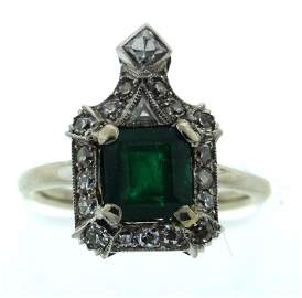 ART DECO C.1920 PLATINUM NATURAL COLUMBIAN EMERALD