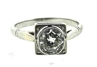 WOWSA Platinum & Round Brilliant Cut Diamond Ring Circa