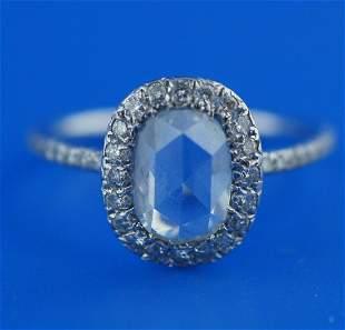 PLATINUM ROSE CUT DIAMOND ENGAGEMENT RING C.1990