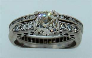 Art Deco ENGAGEMENT RING and ETERNITY WEDDING BAND
