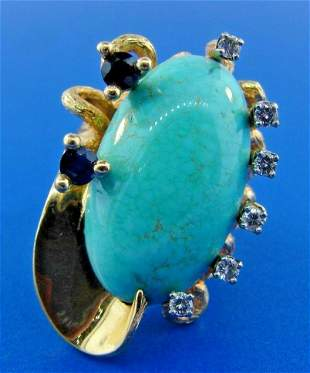 UNIQUE Taxco 18k Yellow Gold, Turquoise, Sapphire &