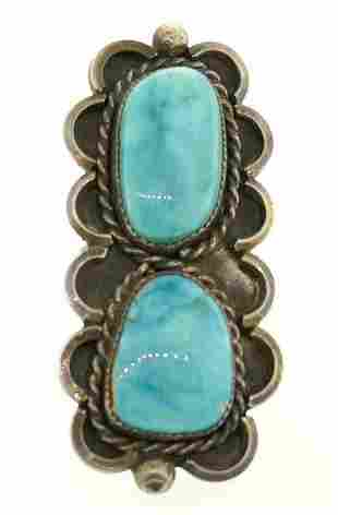 Rectangular Sterling Silver Turquoise Ring
