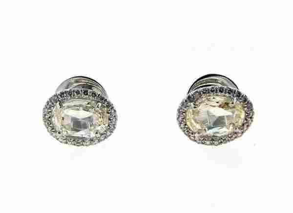 NICE 18k White Gold & Rose Cut & Micro Pave Diamond