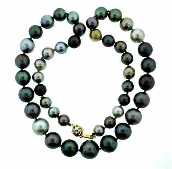 MULTI COLOR TAHITIAN PEARL STRAND NECKLACE 14K YELLOW