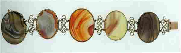 C.1900 VICTORIAN A & J SMITH ABERDEEN 9K GOLD AGATE