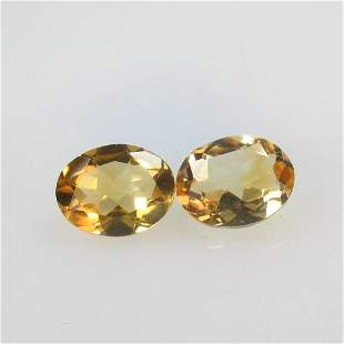 3.29 Ct Natural Yellow Citrine Oval Pair