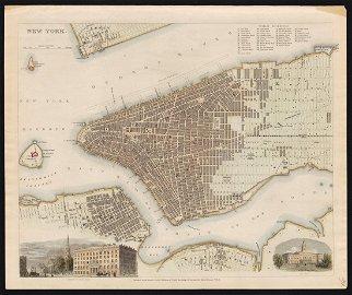 Scarce SDUK map of New York City, 1840