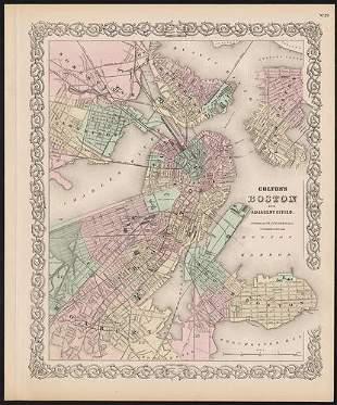 Scarce Plan of Boston & Adjacent Cities, c1886