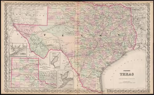 Scarce Colton's double-page map of Texas, c1884