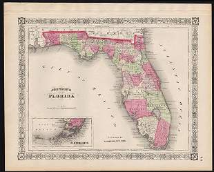 1863 Map of Florida with deep hand coloring