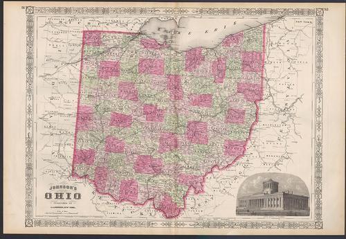 Fine example of Johnson's Ohio, 1864