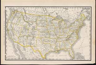 Scarce map of U. S. from McNally Indexed atlas, 1891