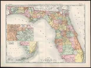 Impressive McNally railroad map of Florida, 1892