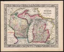 Civil War era map of Wisconsin & Michigan, 1860/62