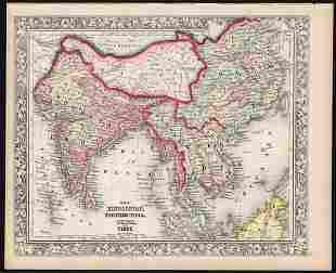 Fascinating map of China, India, Tibet, 1860