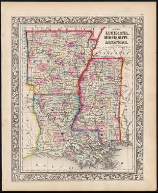 Civil War era map of deep southern states, 1860/62