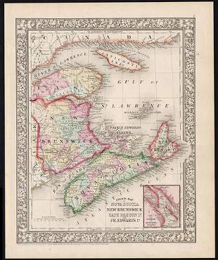 Great 1860s map of the Maritime Provinces by Mitchell