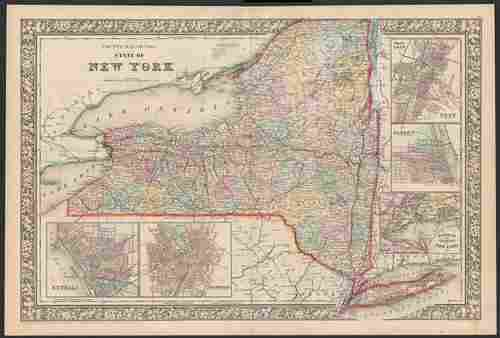 Nice double-page map of New York, Mitchell 1860/66
