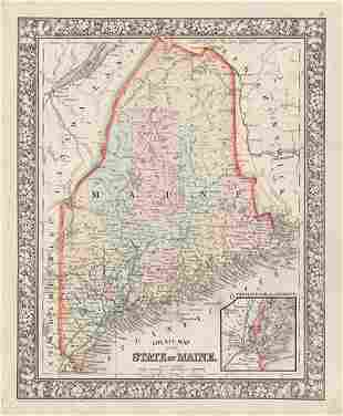Vintage county and RR map of Maine by Mitchell, 1860