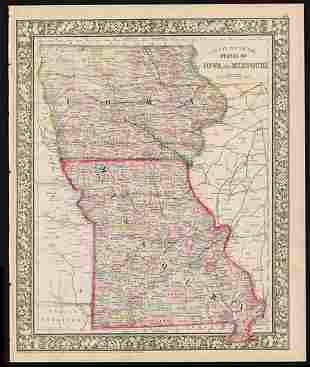 Civil War era map of Iowa & Missouri, 1861/66