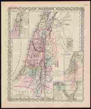 Fine map of Palestine, Colton 1886