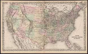 Scarce & large map of United States, Colton 1876
