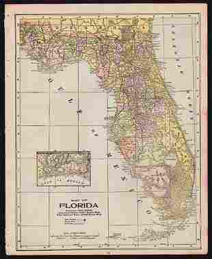 Uncommon Map of Florida, 1897