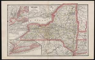 Scarce variant map of New York, Cram 1883