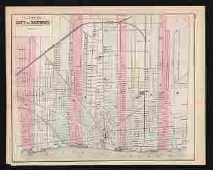 Early atlas map of Detroit